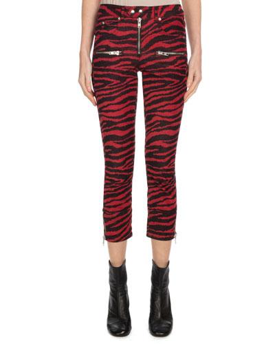 Alone Zebra-Print Cropped Trousers