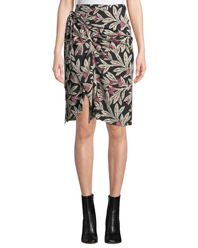 Loela Gathered Floral Crepe Skirt