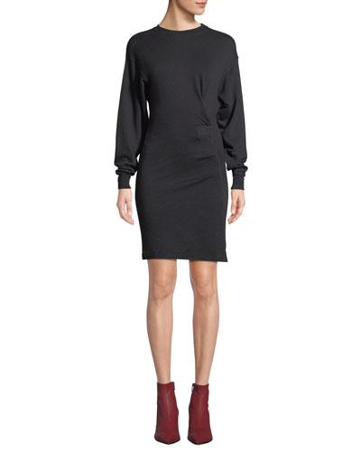 Fewlyn Gathered Long-Sleeve Short Dress