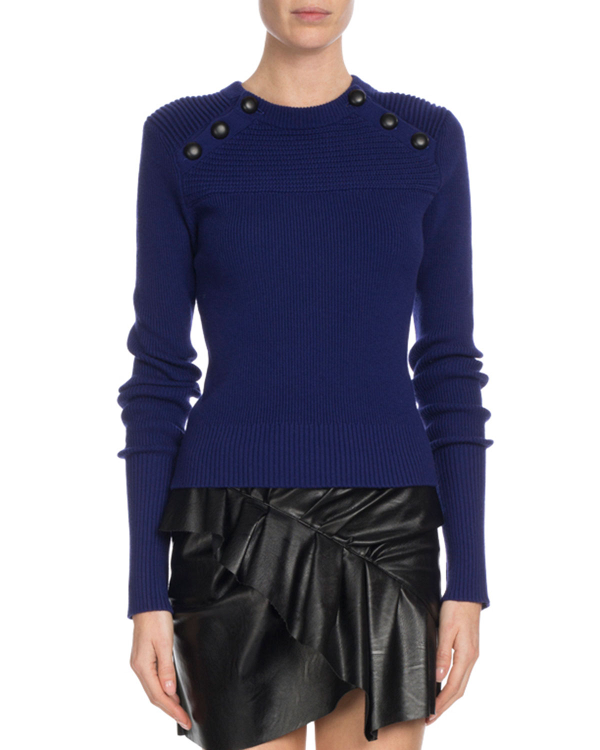 KOYLE RIBBED BUTTON-TRIM SWEATER