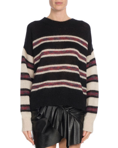 Russell Striped Mohair Pullover Sweater