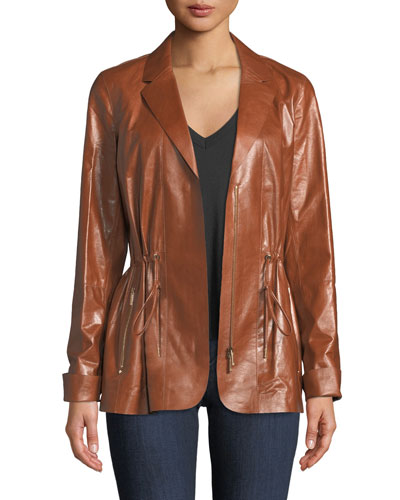 Porsha Lacquered Lamb Leather Jacket