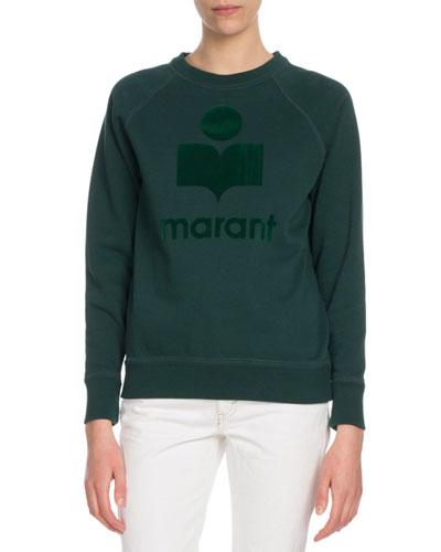 Milly Graphic Logo Crewneck Pullover Sweatshirt