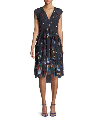 Kiersten Printed Silk Ruffle Dress