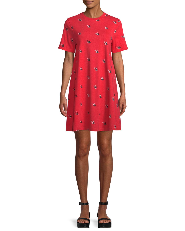 Babydoll Bird-Print Tee Dress