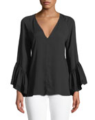 Halston Heritage Ruched Long-Sleeve Silk Blouse