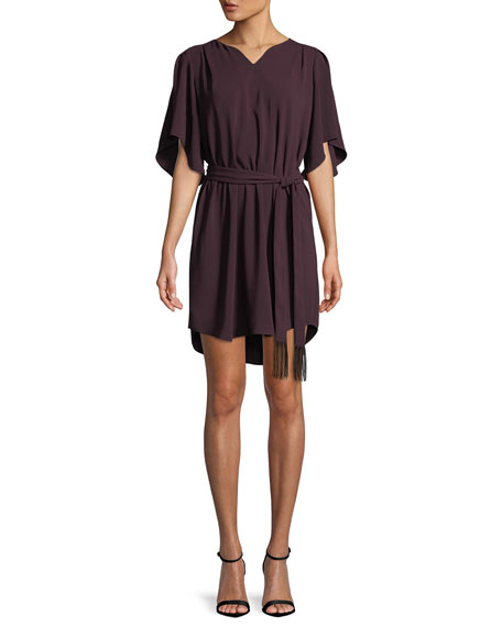 Halston Heritage Flowy Half-Sleeve Crepe Dress