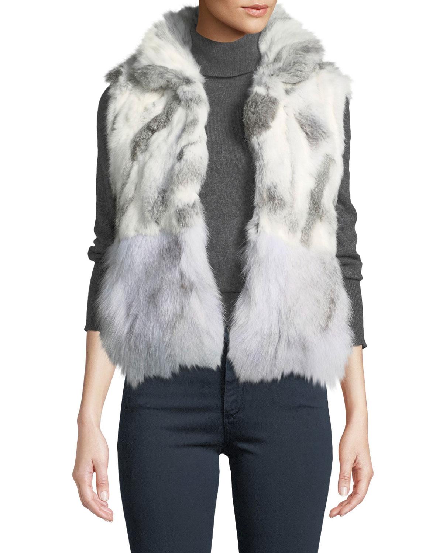 ADRIENNE LANDAU Short Patchwork Fur Vest, Natural/Gray