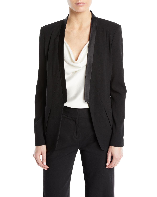 Long-Sleeve Open-Front Wool Tux Blazer