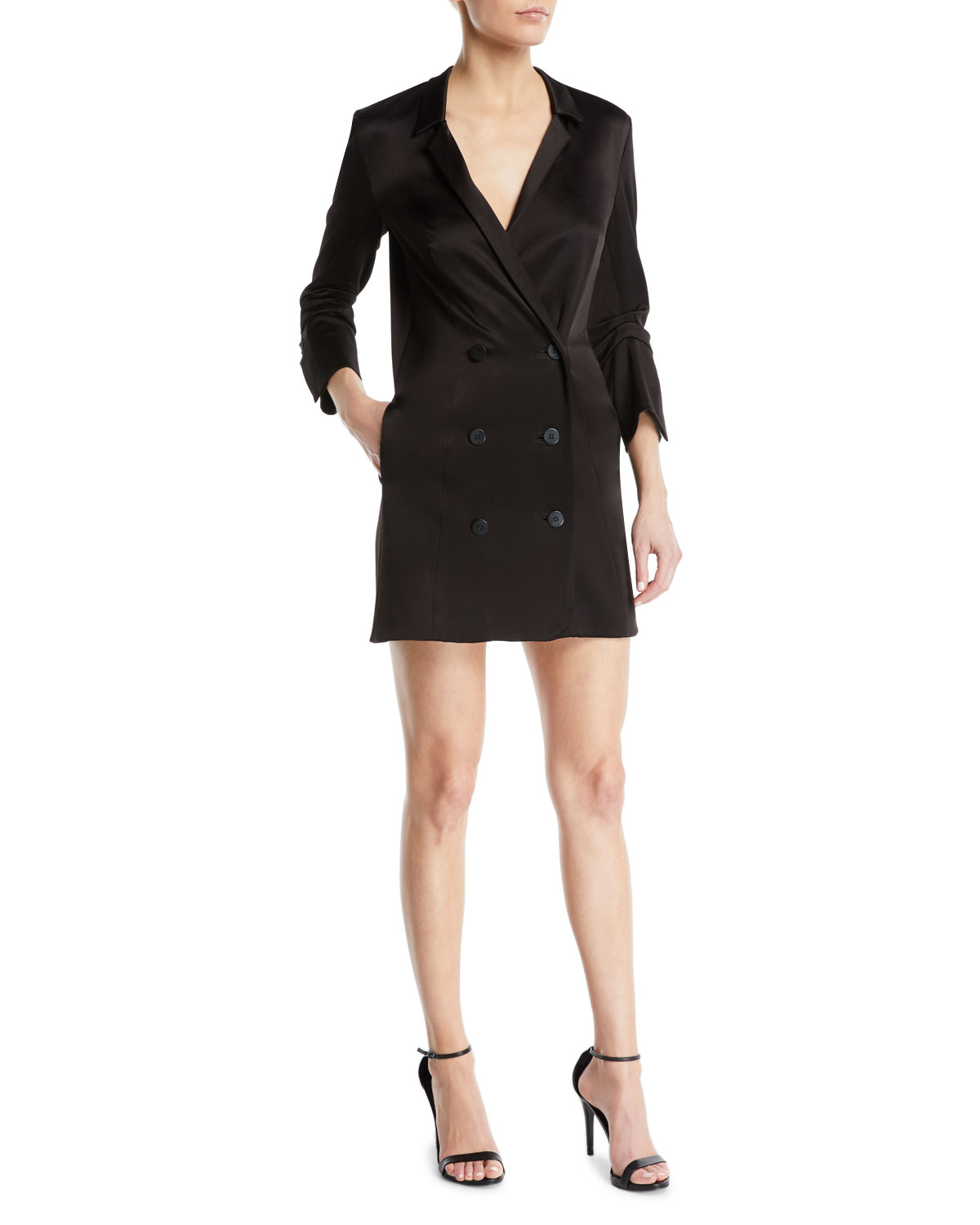 Double-Breasted Satin Shirtdress