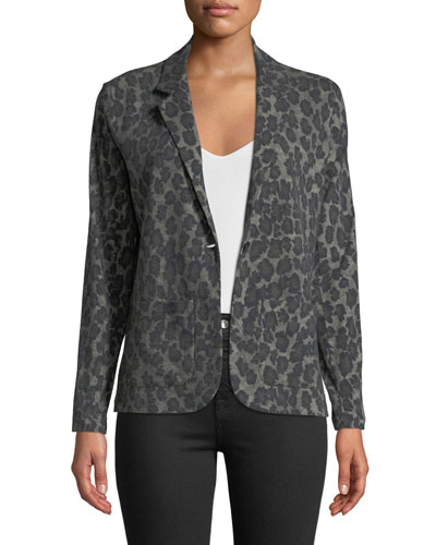 One-Button Leopard-Print Cotton/Cashmere Blazer