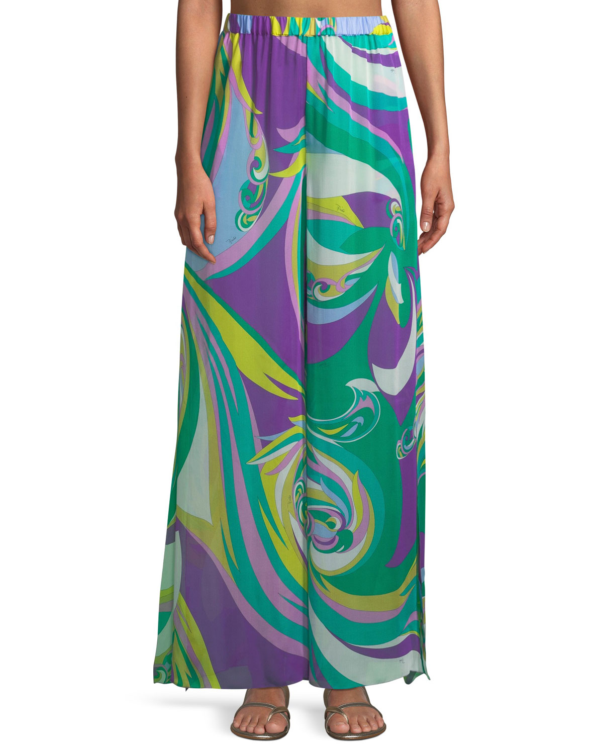 Parrot-Print Silk Wide-Leg Coverup Pants in Multi