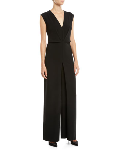 b41f7cd15636 Quick Look. Theory · Pleated Crepe Wide-Leg Sleeveless Jumpsuit