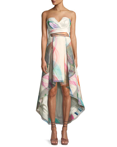 Jada Printed Strapless Bustier High-Low Dress