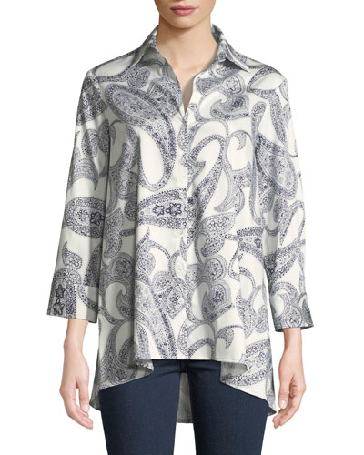 Long-Sleeve Paisley-Print Trapeze Shirt