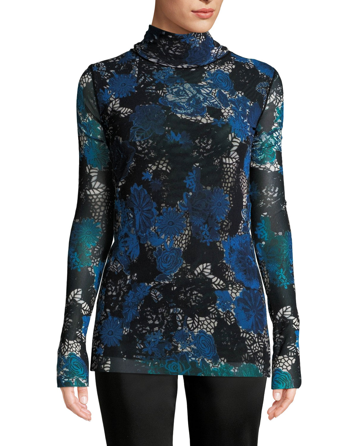 Floral Lace Printed Tulle Turtleneck Top, Blue Univers