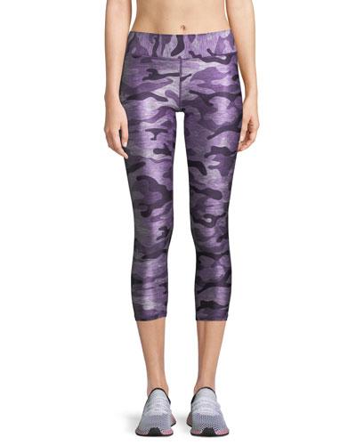Ultra Violet Camo-Print Capri Leggings