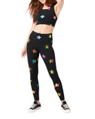 Terez Rainbow Star Foil Printed Tall Band Leggings