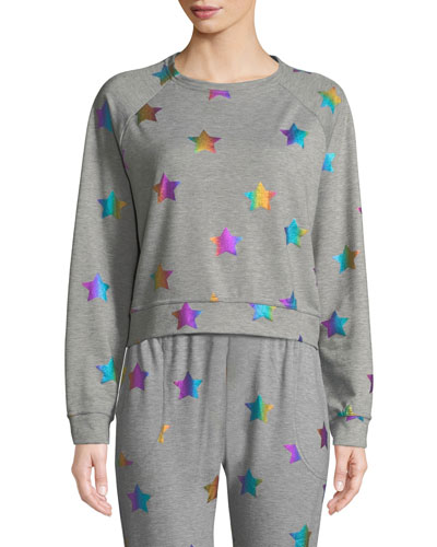 Star Foil Printed Crewneck Sweatshirt