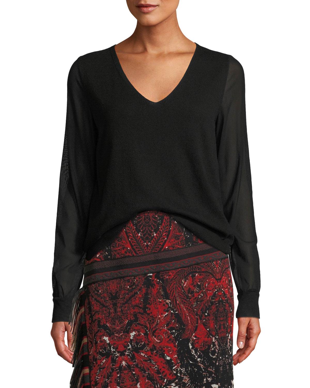 V-Neck Sheer-Sleeve Sweater, Black