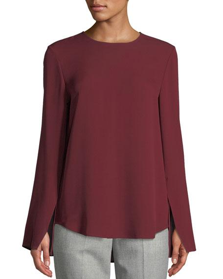 Theory Bringham Crewneck Long-Sleeve Classic Silk Georgette Blouse