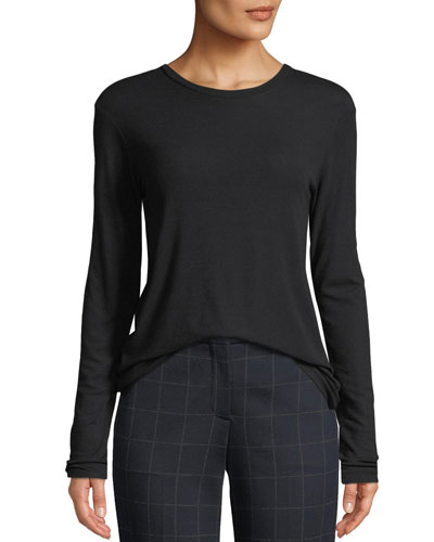 Pleated-Back Crewneck Long-Sleeve Ribbed Top