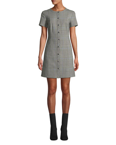 Easy Snap-Front Windowpane Shift Dress