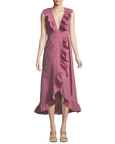 Stella Gingham-Print Draped Ruffle Midi Dress