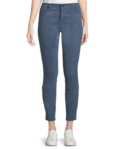 Washable Stretch-Suede Five-Pocket Cropped Pants