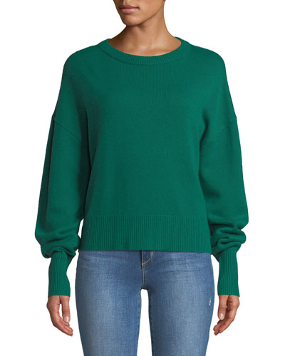 Crewneck Drop-Shoulder Long-Sleeve Cashmere Sweater