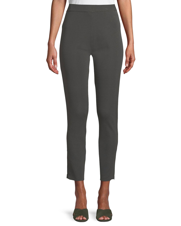 Plus Size Knit Ankle-Zip Legging Pants