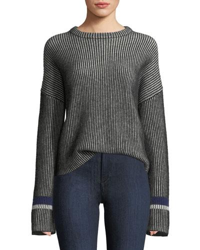 Mixed-Stripe Crewneck Cashmere Sweater