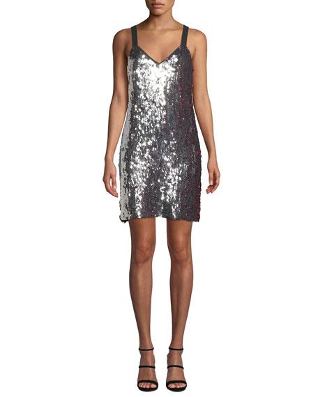 Tanya Taylor Becca Two-Tone Sequin Tank Dress