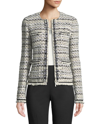 Benji Modulated Tweed Jacket w/ Frayed Trim