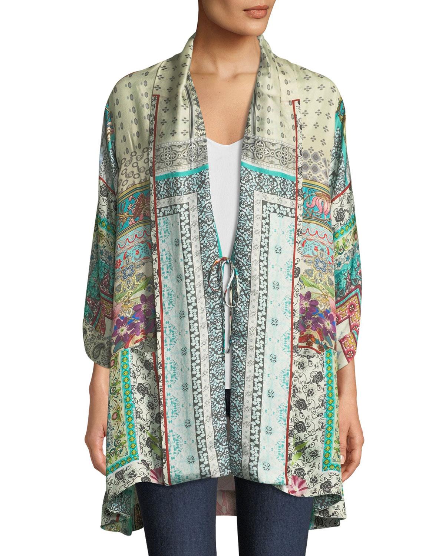 Samira Long Silk Kimono Jacket, Plus Size
