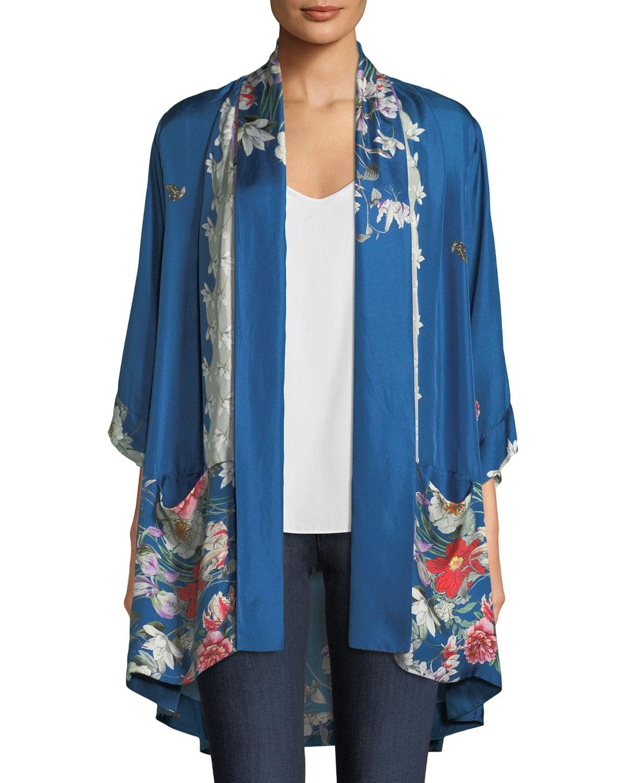 Samira Long Floral-Print Silk Kimono Jacket, Plus Size