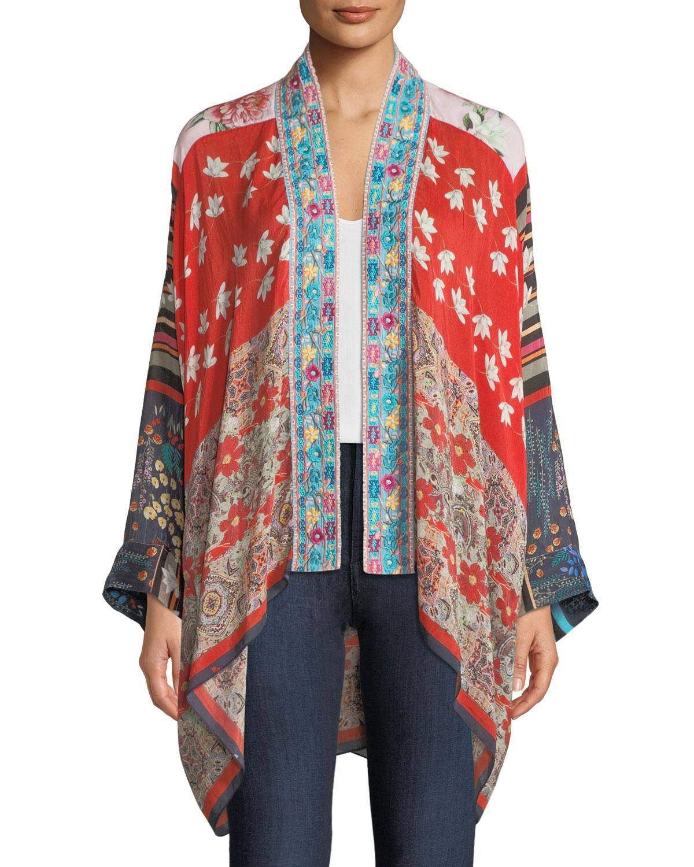 Mixed-Print Kimono Jacket w/ Embroidery