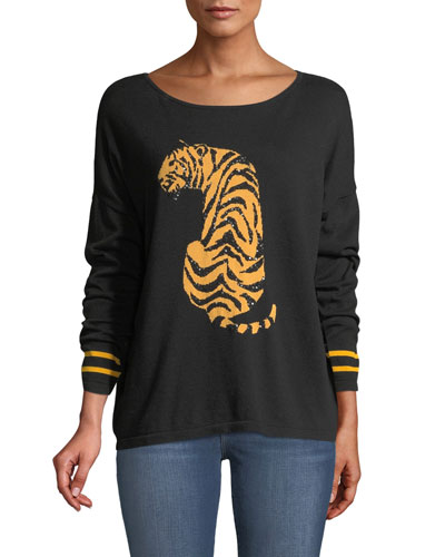 Plus Size Boat-Neck Long-Sleeve Sequin-Striped Tiger-Intarsia Sweater