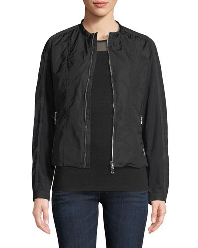 Lora Zip-Front Nylon Fleece Jacket