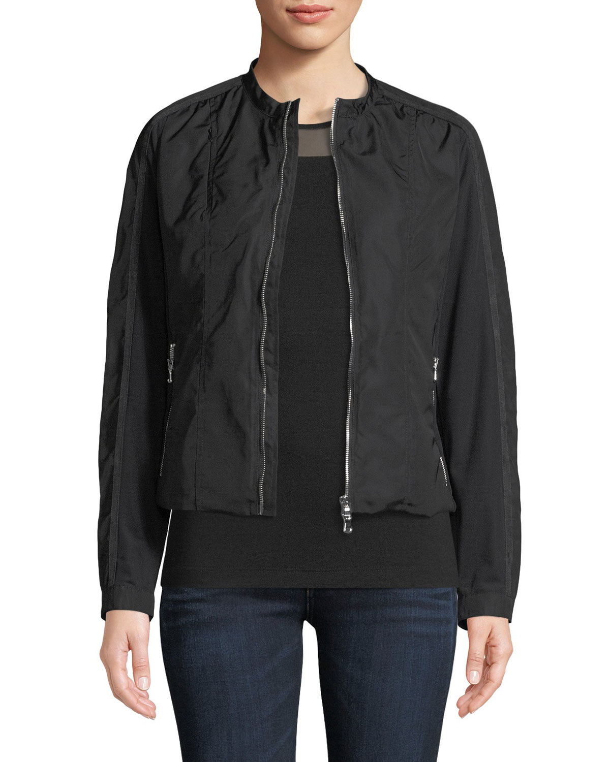 ANATOMIE Lora Zip-Front Nylon Fleece Jacket in Black