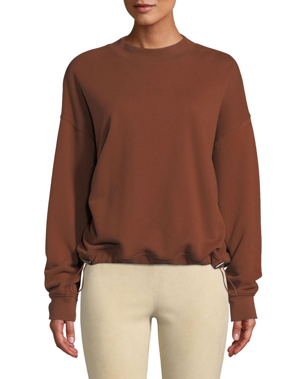 Mock-Neck Drawstring Pullover Sweater, Orange