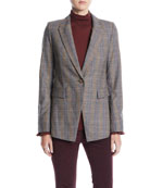 Lafayette 148 New York Heather One-Button Eloquent Plaid
