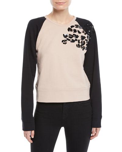Sequin Raglan Pullover Sweater