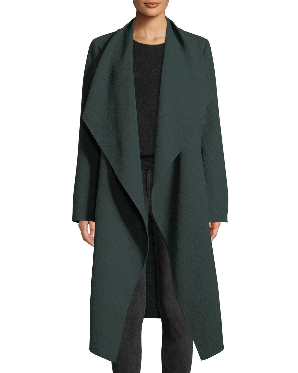 Hemingway Draped Open-Front Wool Crepe Coat