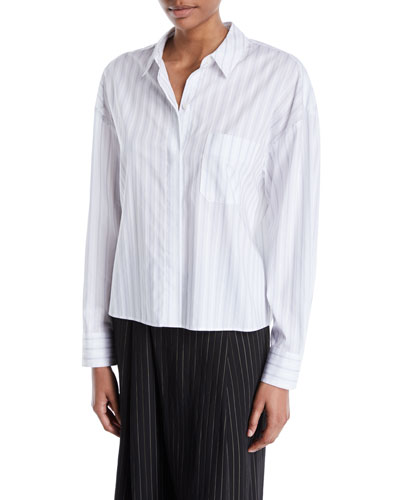 Boxy Pinstripe Button-Front Shirt
