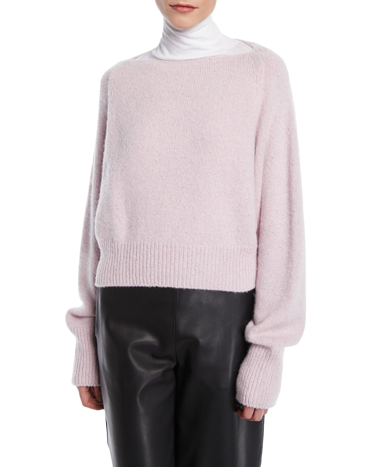 Cropped Boat-Neck Cashmere Sweater