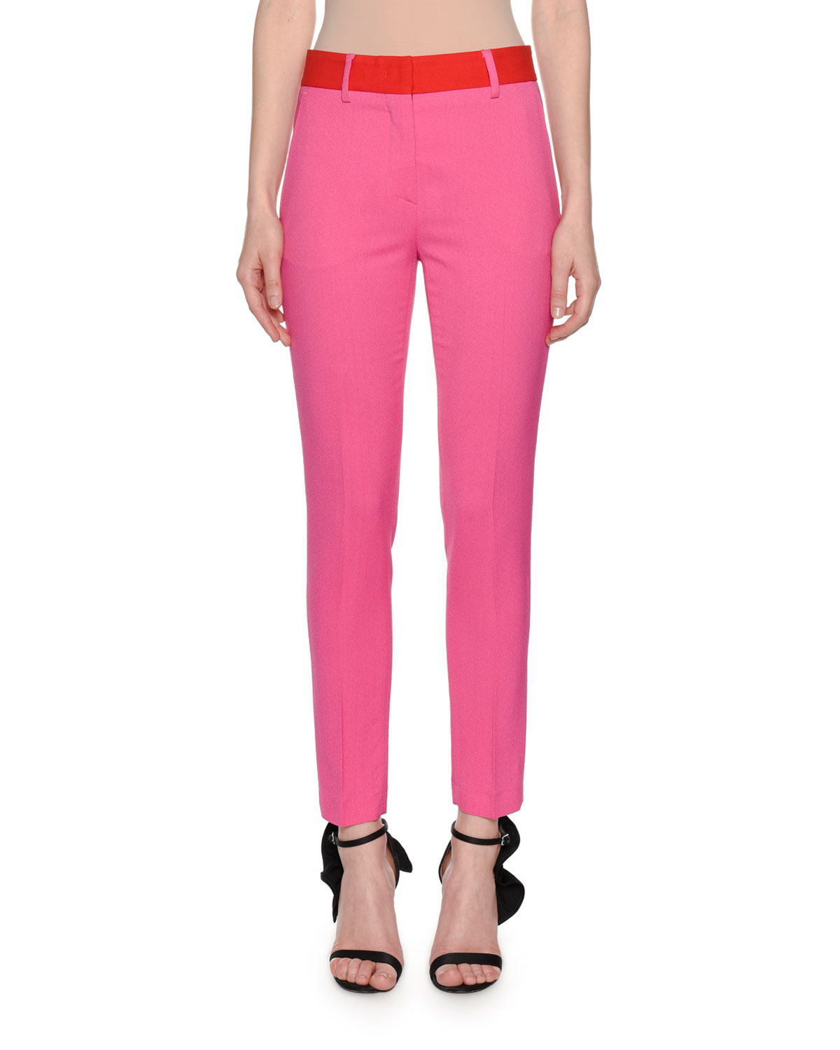 Skinny Suiting Pants with Contrast Waist