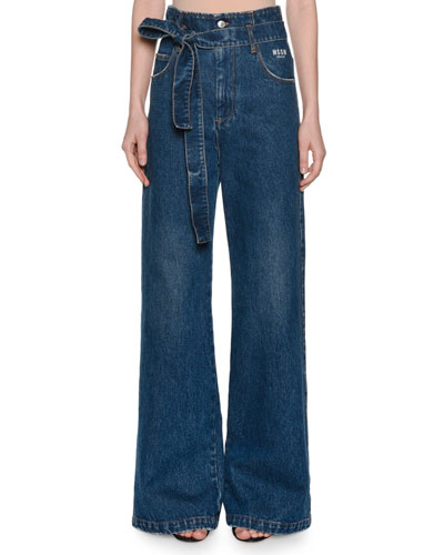 Belted High-Rise Wide-Leg Jeans