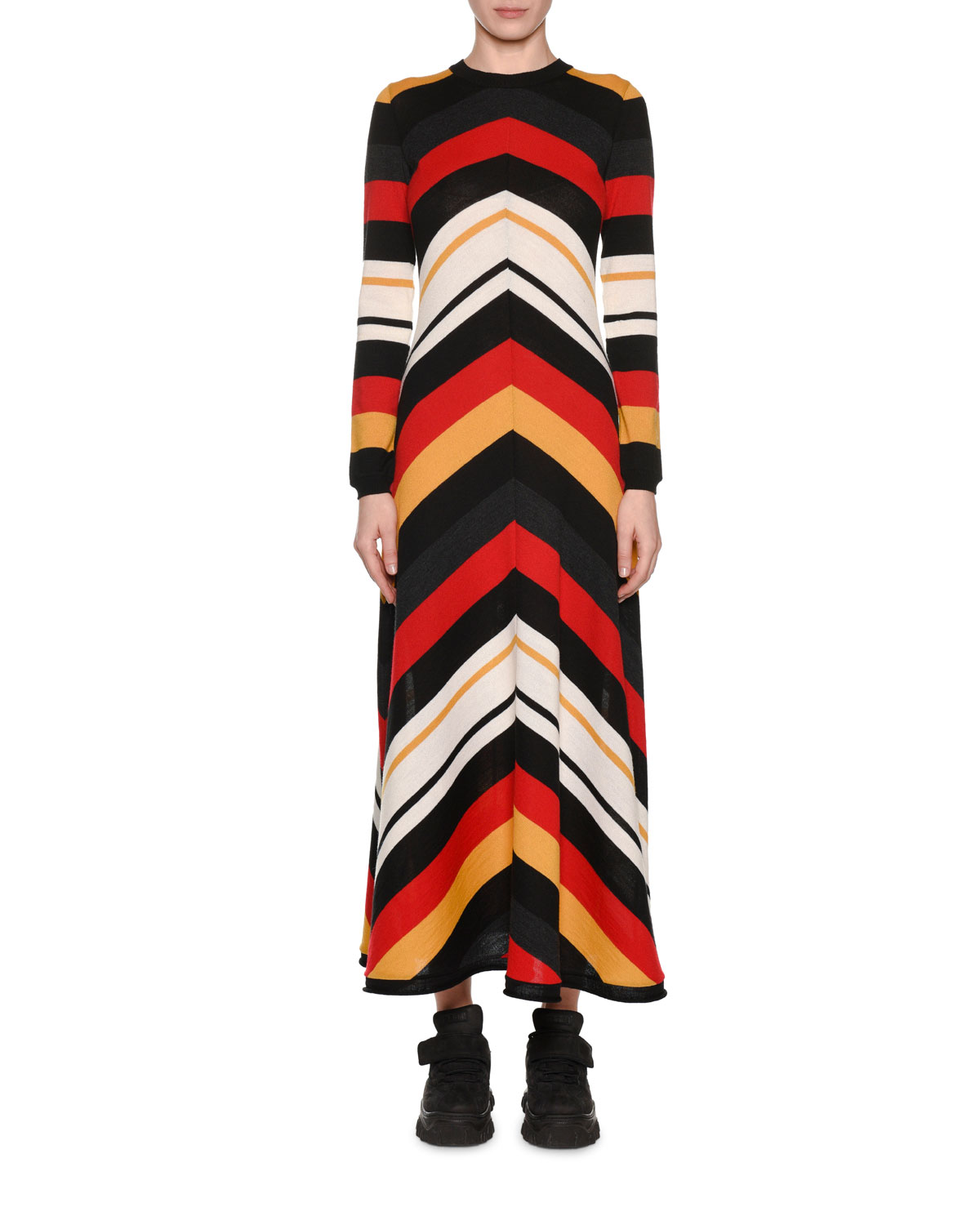 Striped Knit Long Dress With Long Sleeves, Multi Pattern