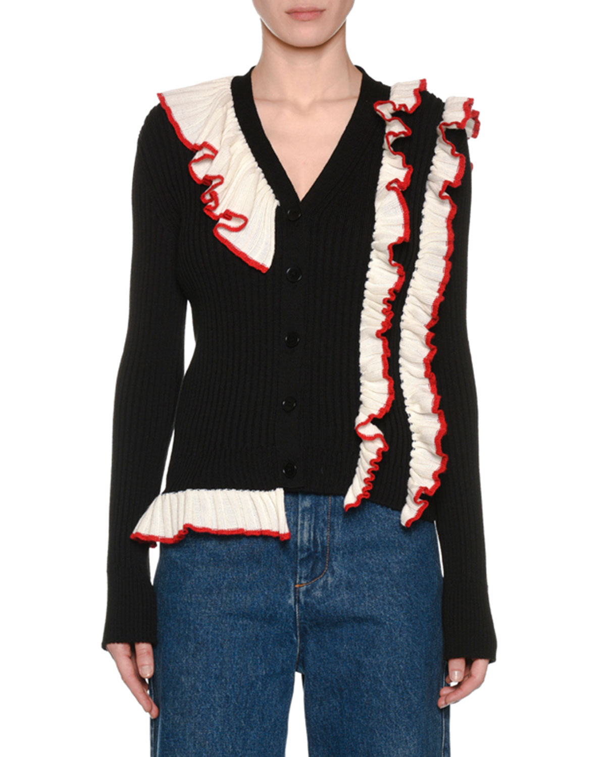 Ribbed Long-Sleeve Ruffle Button-Front Cardigan